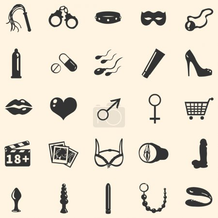 Photo pour Vector icons Boutique sexe - image libre de droit
