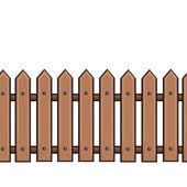 Vector seamless cartoon brown fence