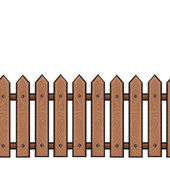 Vector seamless cartoon wooden brown fence