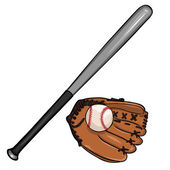 Vector cartoon illustraition: baseball bat ball and glove