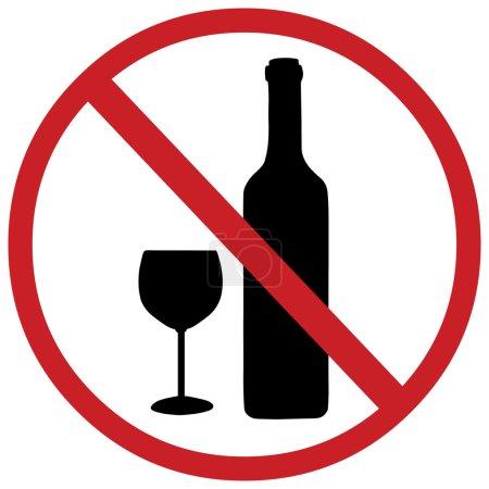 Illustration pour Signe vectoriel : pas d'alcool - image libre de droit