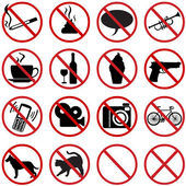 Vector icons set - 16 flat prohibition signs