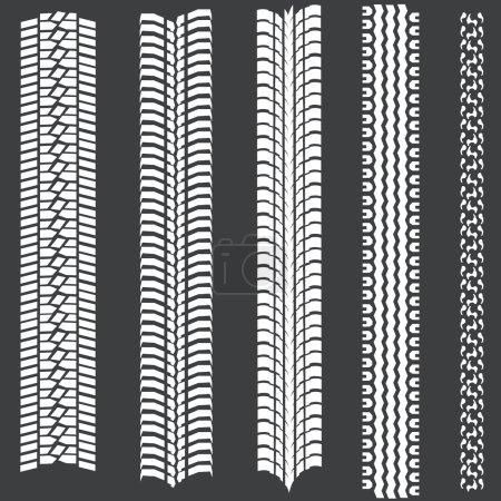 Vector set of 5 white tire tracks