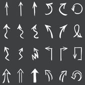 Vector set of white hand drawn arrows