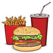 Vector cartoon fast food combo - hamburger french fries soda