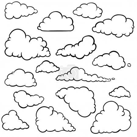 Illustration for Vector set of outline clouds - Royalty Free Image