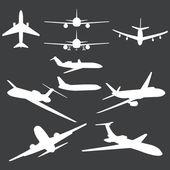 Vector set of white plane silhouettes