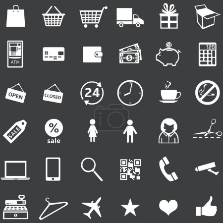 Illustration for Vector set of 36 white shopping icons - Royalty Free Image