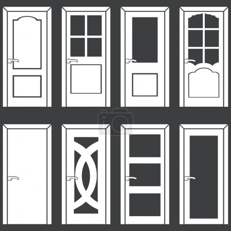 Illustration for Vector set of 8 white door icons - Royalty Free Image