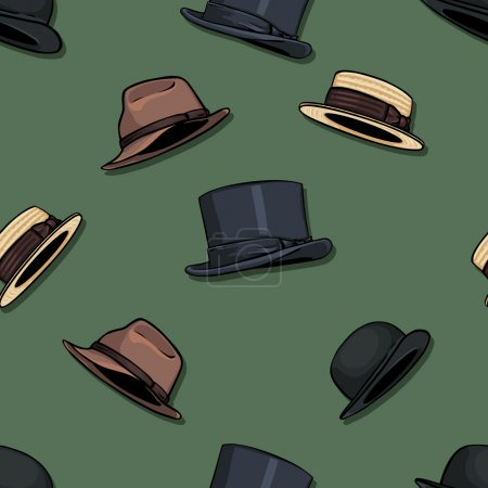Seamless pattern of hats on green background
