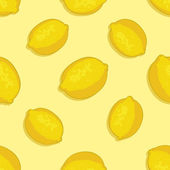 Vector seamless pattern of lemons on yellow background