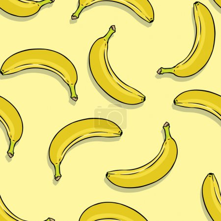 Illustration for Vector seamless pattern of bananas on yellow background - Royalty Free Image