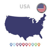 Vector map and flag United States of America