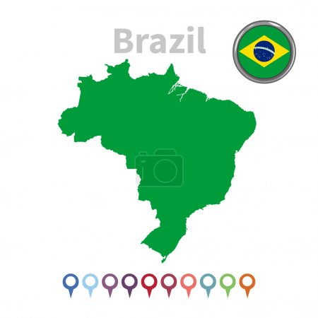 Vector map and flag of Brazil