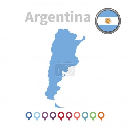 Vector map and flag of Argentina