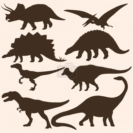 Illustration for Vector set of 8 dinosaurs silhouettes - Royalty Free Image