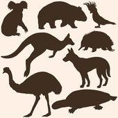 Vector set of australian animals silhouettes
