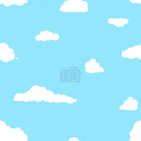 Illustration for Vector seamless pattern of clouds on blue background - Royalty Free Image