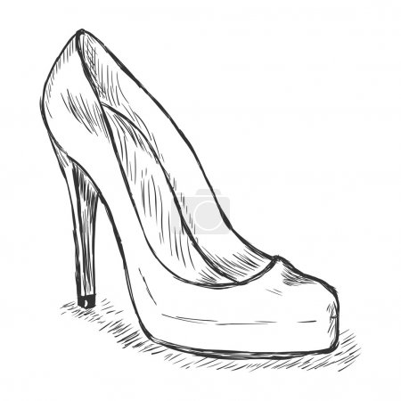 Vector sketch illustration - women's shoes