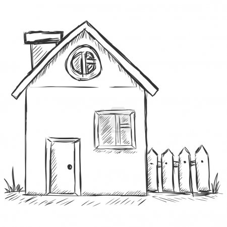 Vector sketch illustration - country house
