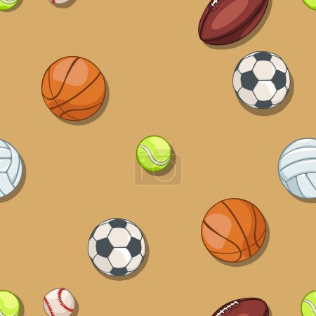 vector seamless pattern of sport balls on brown background