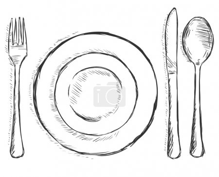 Vector sketch illustration - cutlery: fork, plate, knife, spoon