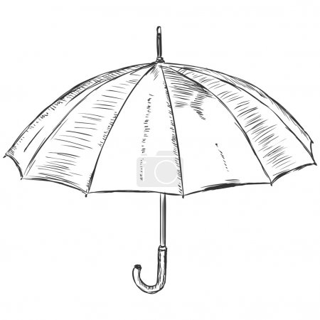 Vector sketch illustration - open umbrella