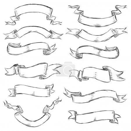 Illustration for Vector set of sketch ribbons - Royalty Free Image