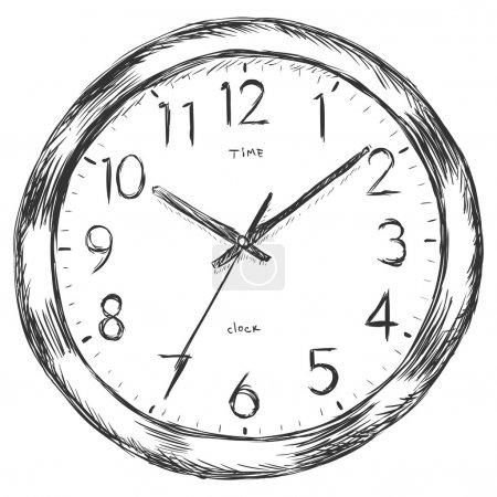 Illustration for Vector sketch illustration - wall clock - Royalty Free Image