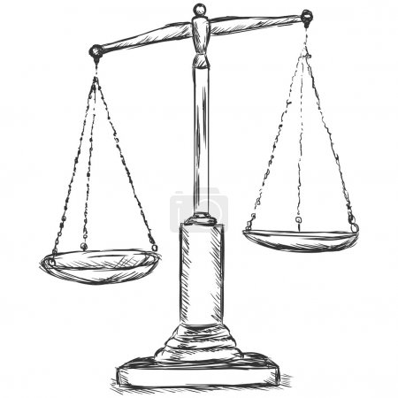 Illustration for Vector sketch illustration - antique scales - Royalty Free Image