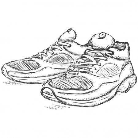 Vector sketch illustration - running shoes