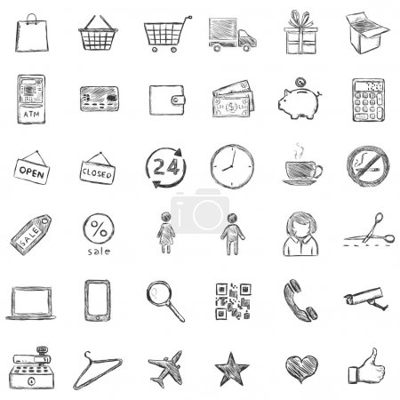 Illustration for Vector Set Of Sketch Shopping Icons - Royalty Free Image