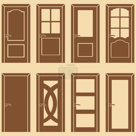 Vector set of 8 brown door icons
