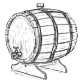 Vector Sketch Illustration - wooden wine barrel with faucet