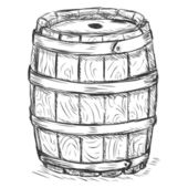 Vector Sketch Illustration - old wooden barrel