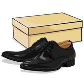 Vector Cartoon Classical Men Shoes with Shoebox