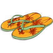 Vektor kreslené oranžové pláže pantofle
