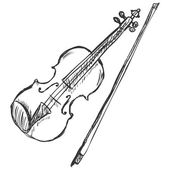 Vector Sketch Violin with Fiddle-bow