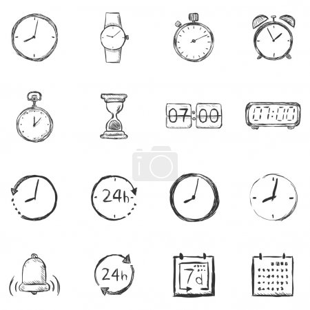 Illustration for Vector Set of Sketch Time Icons - Royalty Free Image
