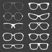 Vector Set of white Glasses Silhouettes