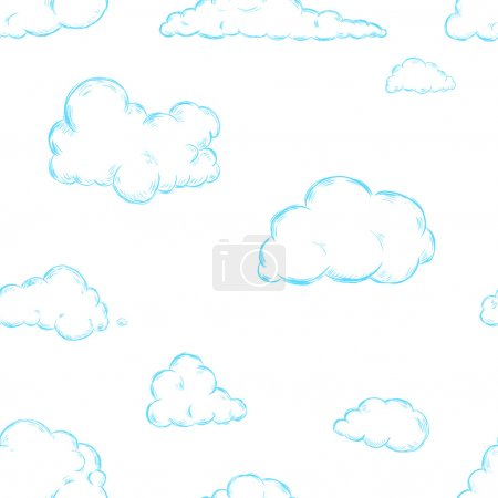 Illustration for Seamless Pattern of Sketch Clouds - Royalty Free Image