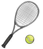 Vector Cartoon Tennis Racket and Ball