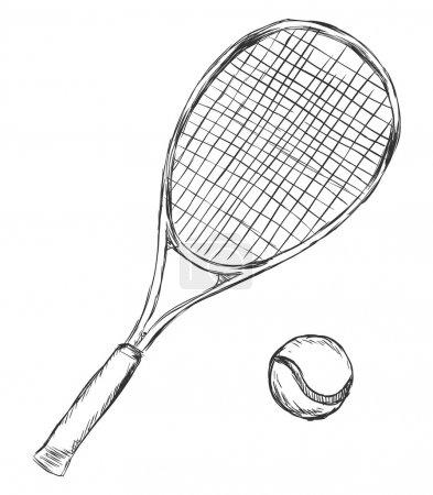 Vector Sketch Tennis Racket and Ball