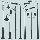 Vector Set of Street Lights Silhouettes