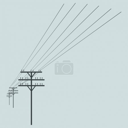 Vector Silhouette of Power Line