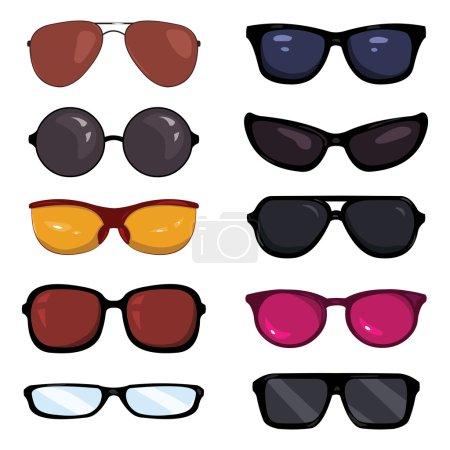 Vector Set of Color Cartoon Glasses