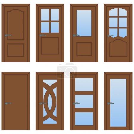 Illustration for Vector Set of Cartoon Doors - Royalty Free Image