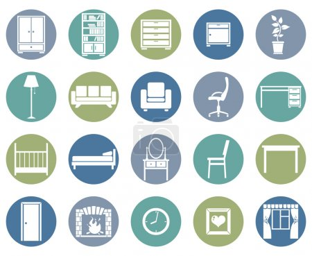 Illustration for Vector Set of Furniture Icons - Royalty Free Image