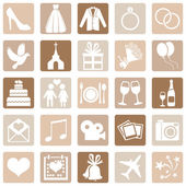 Vector Set of Color Square Wedding Icons