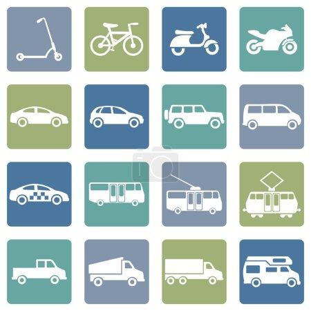 Illustration pour Ensemble vectoriel d'icônes de transport terrestre - image libre de droit